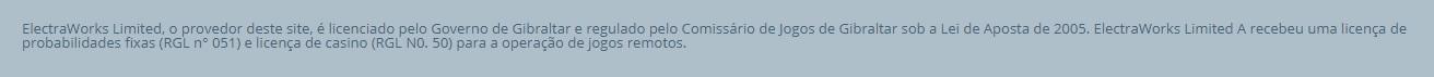 Print screen mostrando as informações sobre licença na página da Sportingbet