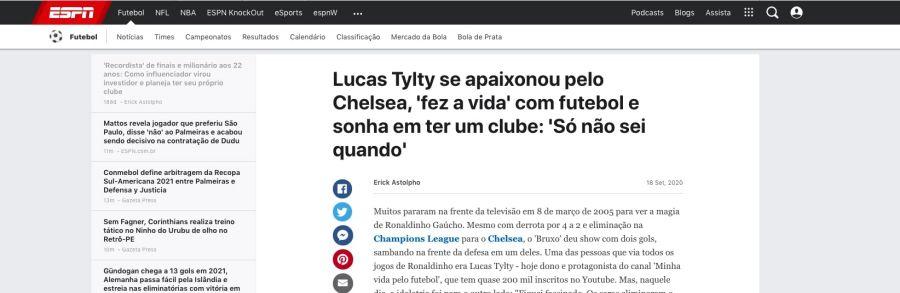 Futebol Trade com Lucas Tylty: matéria futebol espn – futebol trade funciona